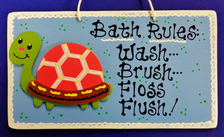Turtle Bathroom Decor: TURTLE Bath Rules Bathroom SIGN Beach Tropical Wall Decor