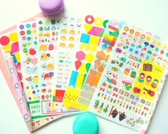 Set of 8 Super Cute and Colorfoul Stickers for Scrapbooking and Planners Yomi Yomi