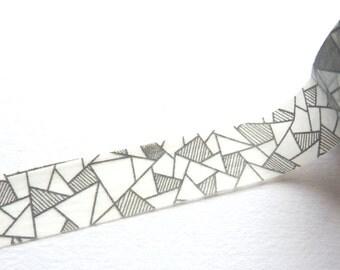 Black and White Geometric Shapes Washi Tape 15mm x 10m