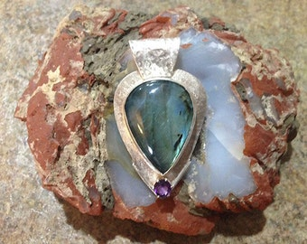 Large Labradorite and Amethyst Silver Smithed Pendant