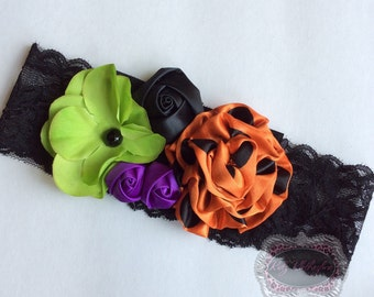 Baby Girl Halloween Headband Black Wide Lace Green Purple Orange Headband