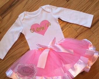 Baby Onesie Birthday Onesie Baby 1st Birthday Onesie Pink Heart Gold Glitter One Onesie Shirt Onesie Pink Personalized Onesie Cake Smash 1st