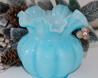 Fenton Blue Overlay Melon Bowl
