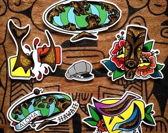 5 tiki sticker pack, inspired by Witco exotic carvings. vintage, 60s, surf, Hawaii, Tiki mug, rockabilly, tattoo flash, aloha