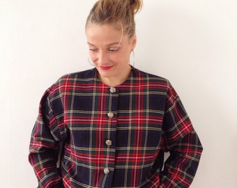 Vintage jacket,vest,bomers plaid from the 90s