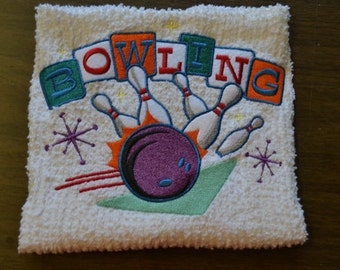Retro Look Bowling Towel Machine Embroidered