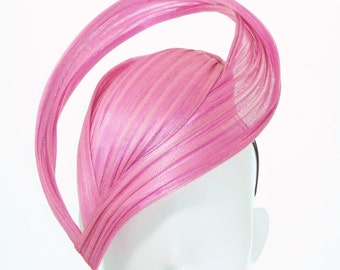 Hot Pink Point and Swirl Hat - Spring Racing Carnival, Bespoke Headwear