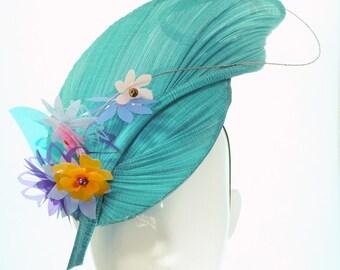 Turquoise Leaf Meg Hat  - Spring Racing Carnival, Bespoke Headwear