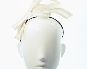 Ivory Bow Asymmetric Tiara  - Spring Racing Carnival, Bespoke Headwear
