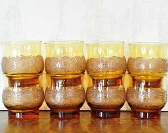 Vintage Libbey Juice Glasses, Amber with Embellished Pattern, Americana, Set of Eight