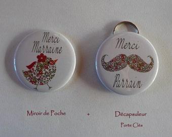 Duo Cadeau Parrain Marraine Décapsuleur Porte Clés Miroir de Poche Liberty Eloïse Rose.