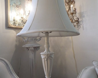 Vintage French Barbola Painted Lamp Bows Swags Details Shabby Chic Paris Apartment
