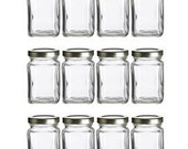 Victorian Style Mini Square Glass Jar Set (12pcs) With Airtight Lids. Use for Party Favors, Jam, Honey, Spices and DIY Crafts (3.8 Fluid Oz)
