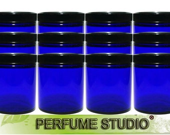 4oz Blue Cobalt Glass Jar Set with Black Screw Lids for Cosmetics, Ointments, Salves, Skincare, Creams, Storage & More (Bulk Buy, 12 Jars)