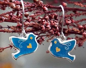 Gentle blue birds enamel silver earrings