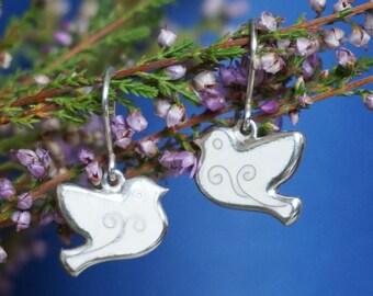 Tender white bird enamel silver earrings, Valentine gift