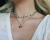 Earthly Glass Beaded Choker Necklace, Handmade Choker, Boho Necklace