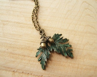 Leaves & 3D acorns pendant necklace. Green and antique bronze. Pagan Wicca. Gift