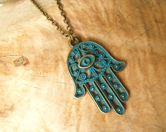Hamsa Hand/ Fatima necklace with teal patina.Protection from the Evil Eye.