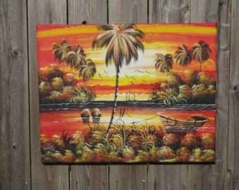 Red Sunset on the Water Original Haitian Painting 24 x 19