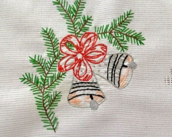Vintage hand embroidered Christmas tablecloth