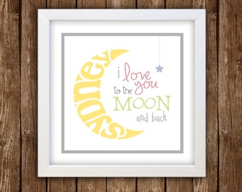i love you to the moon and back sign print and frame combo