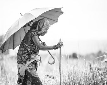 Travel Photography - Tharu Herder of Chitwan - 2 of 2 - Black and White Print -