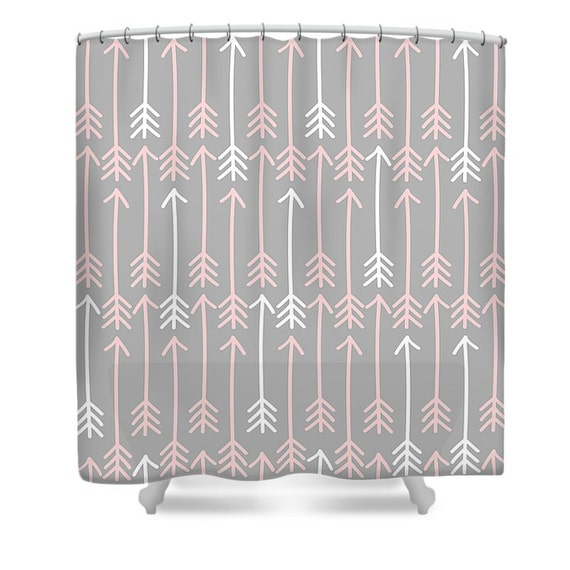 Boho Chic Shower Curtain Gray With Pink And White Arrows
