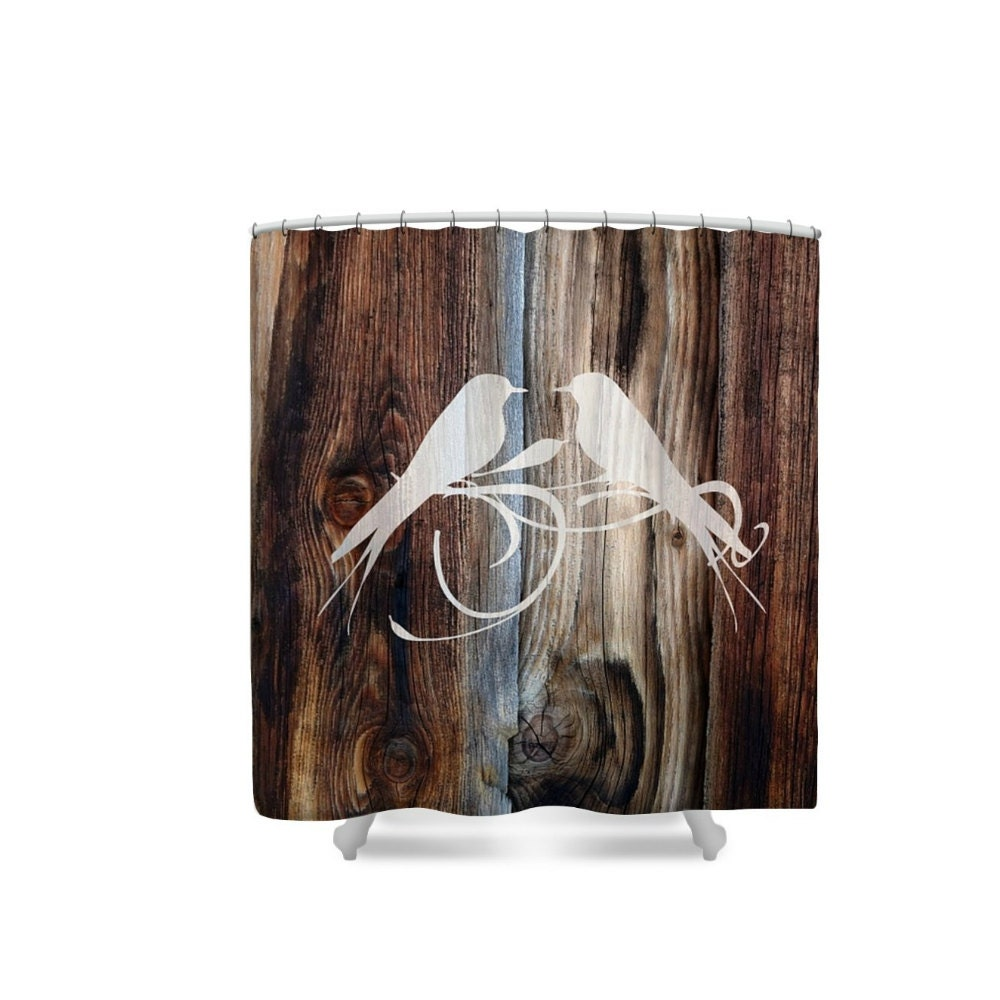 Primitive Rustic Shower Curtain Weathered Wood By Folkandfunky