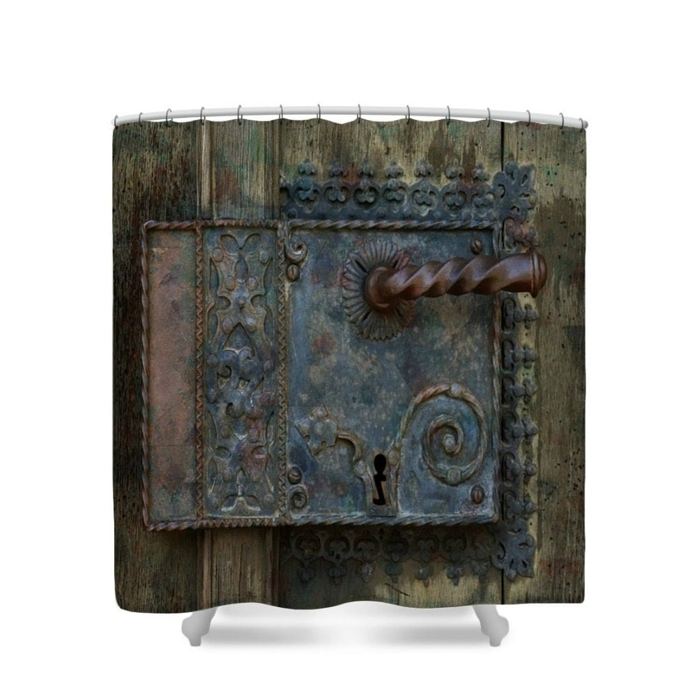Primitive Rustic Shower Curtain Castle Door by FolkandFunky