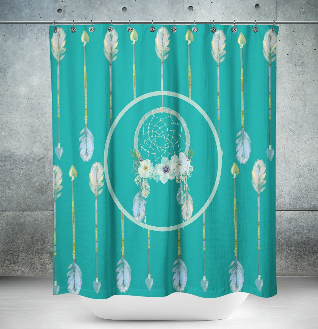boho chic shower curtain dream catcher and arrows turquoise