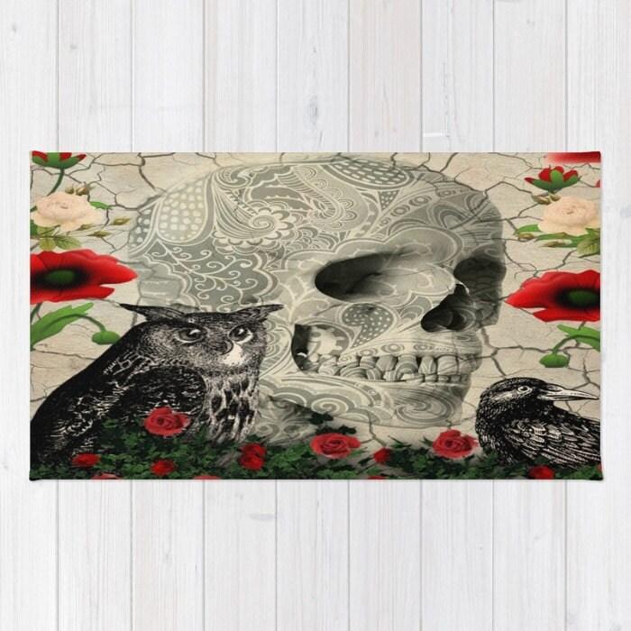 Skull Area Rugs: Skull Rug Gothic Owl Crow Poppy Sugar Skulls