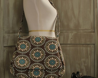 Turquoise, Brown and Off White  Crossbody/Shoulder Bag with an Adjustable Strap