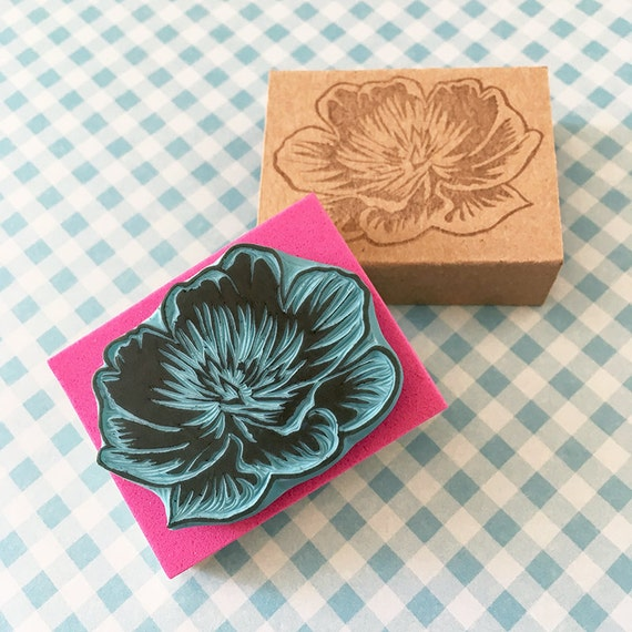 Peony flower rubber stamp hand carved scrapbooking