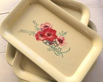 Yellow tin trays, tin trays, metal trays, serving trays, vintage tin trays, tin tray with flowers, red trays