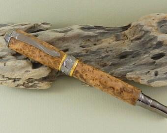 Black Ash Burl Nouveau Sceptre Fountain Pen