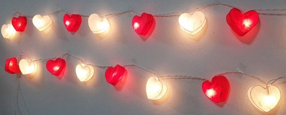 string lights sweet time valentine red white 20 heart romantic party 35 meters string of 20 white heart with 20 tiny light bulbs size about 55 x 6 cm - Valentine String Lights