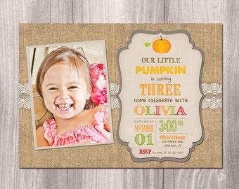 Fall Birthday Invitation - Pumpkin Birthday Invitation - Printable Fall Invitation - Printable Pumpkin Invitation - Pumpkin Party
