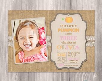 Fall Birthday Invitation - Pumpkin Birthday Invitation - Printable Fall Invitation - Vintage Fall Invitation - Pink Fall Invitation