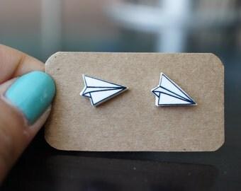 Paper airplane stud earrings