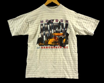 Vintage 90s Molson Indy Vancouver Tee - Large - White with Grey Stripes - Indy Car Racing - Indy 500 - Formula 1 - Vancouver BC Canada