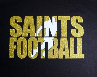 Football Team Custom Shirt, Long sleeves, Sweatshirt, Hoodie.  Customize for your team name (Saints shown), team colors and player number!