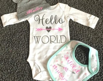 Hello world newborn set, bodysuit, baby onsie set, hospital outfit, personalized baby, new mamma gift