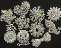Wholesale Bulk Lot of 10 Rhinestone Crystal Brooches DIY Bridal Wedding Bouquet Iridescent