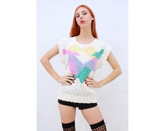 Vintage - Retro - 80's - SEAPUNK- Beach - Boucle - White - Geometric - Abstract - Knit - Top - Sweater - AUS 12 - M - Medium