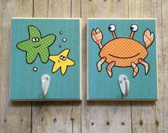 Kids Bathroom Decor, Kids Bathroom Art, Kids Hooks, Towel Hooks, Robe Hooks, Baby Hooks, Baby bathroom, bathroom hooks, Sea Bathroom Hooks