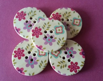 Flowers Wooden Button (set of 5)