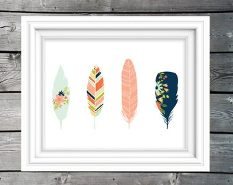 Woodland Feathers Tribal art print, nursery decor, children's art print, kids printable, playroom art, baby girl woodland nursery art print