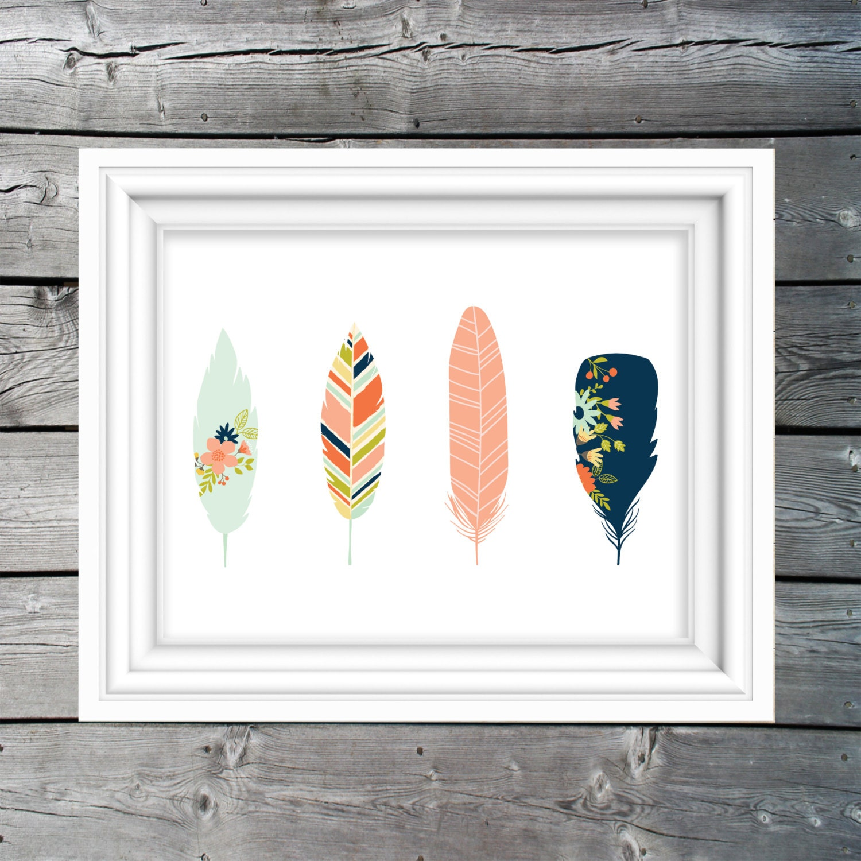 Art Décor: Woodland Feathers Tribal Art Print Nursery Decor