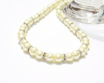 Glass pearl necklace, Yellow pearl necklace, bridal necklace, beaded necklace, pearl necklace, yellow necklace, necklace